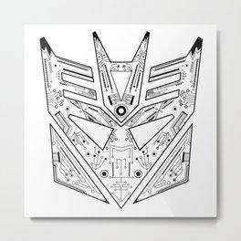 Decepticon Tech Black and White Metal Print