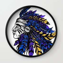American Native Chieftain Head Wall Clock