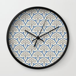 Floral Scallop Pattern Gray and Blue Wall Clock