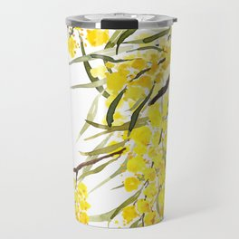 Godlen wattle flower watercolor Travel Mug