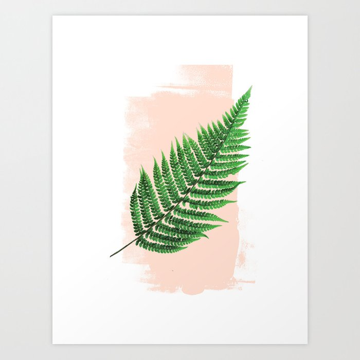 Fern Leaf on Pink Art Print
