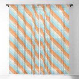 Goldfish Diagonal Striped Pattern Sheer Curtain