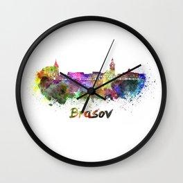 Brasov skyline in watercolor Wall Clock