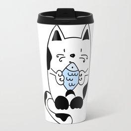 Cat with a fish Travel Mug
