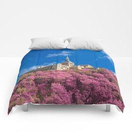 Mont Saint-Michel Abbey - Pink Fantasy Comforters