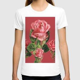 ROSE MADDER ANTIQUE VINTAGE ART PINK ROSES T-shirt