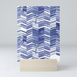 Indigo Screen Printing Chevrons Pattern Mini Art Print