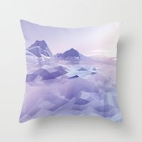 low poly Throw Pillows featuring Low Poly Art by NewLineGraphics