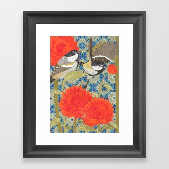 Coal Tits and Chrysanthemums Framed Art Print
