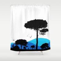 safari Shower Curtains featuring Safari by yakitoko