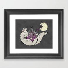 Bright Lights Kitty Nights Framed Art Print