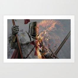 Templar Knight and Lion Art Print