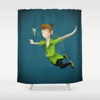 peter pan Shower Curtains featuring Peter Pan by JackEmmett