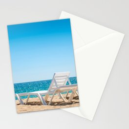 Two chaise-longues on the beach without people Stationery Cards