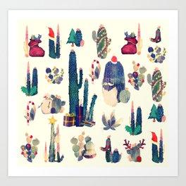 cactus ready for Christmas Art Print