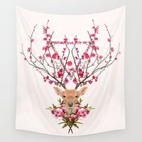 spring Wall Tapestries featuring Spring Deer by Robert Farkas