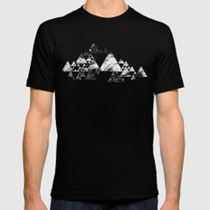 Mountains MEDIUM Black Mens Fitted Tee