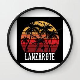 Lanzarote Palm Trees Holiday Motif Gift Idea Wall Clock