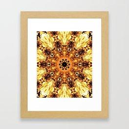 Yellow Brown Mandala Abstract Flower Framed Art Print