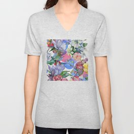 Contemporary Colorful Watercolor Pastel Floral Print Unisex V-Neck