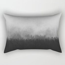 Minimalist Modern Black And white photography Landscape Misty Black Pine Forest Watercolor Effect Sp Rectangular Pillow
