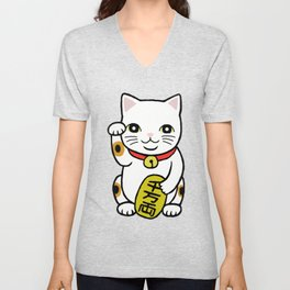 Good luck Cat Japanese Maneki Neko Retro Classic Trico Color Cat    Unisex V-Neck