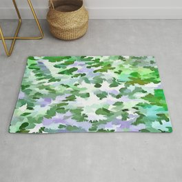 Foliage Abstract In Green and Mauve Rug