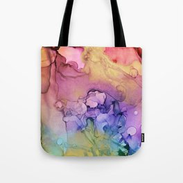 Colorful Abstract Ink Swirls with Gold Marble Tote Bag