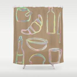 Rainbow Pastel Kitchen Shower Curtain