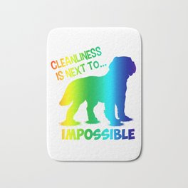 (tshirt) Cleanliness Is Close To Impossible (vertical rainbow) Bath Mat