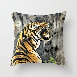 Tiger roar Woodblock Style Throw Pillow