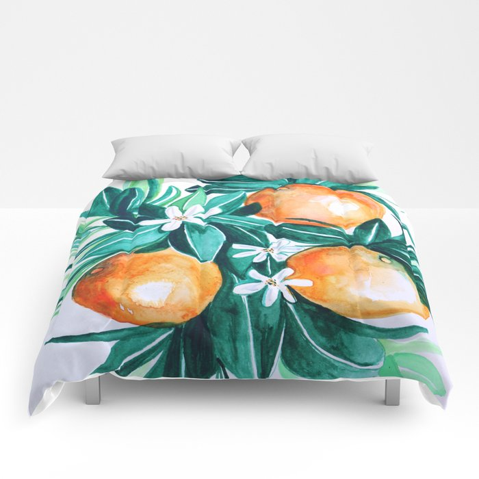 Orange flower watercolor Comforters