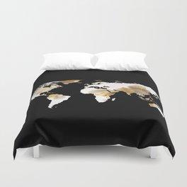 World Map Silhouette - Popcorn Duvet Cover