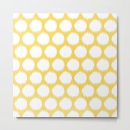 Pale Yellow Asian Moods Ikat Dots Metal Print