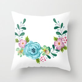 Bouquet Viola - Violet, Green AND Blue Flower Throw Pillow