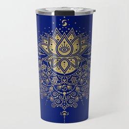 Sacred Lotus Mandala – Navy & Gold Palette Travel Mug