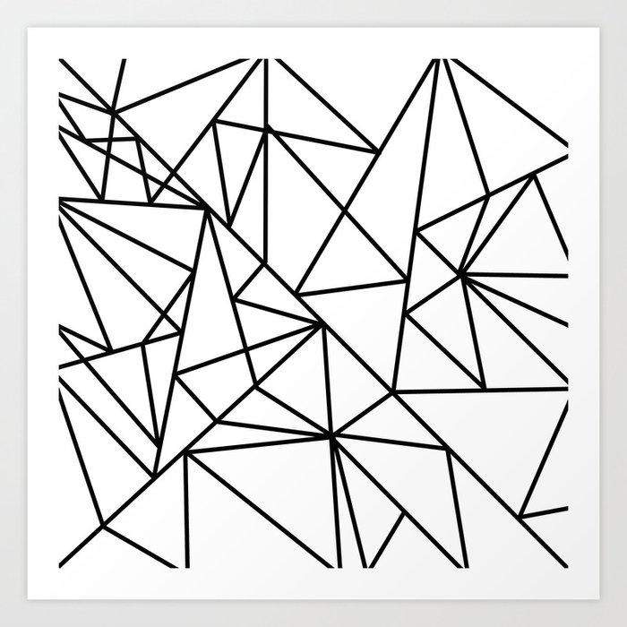 Black White Modern Abstract Geometrical Pattern Art Print