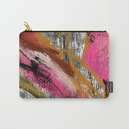 Motivation [3] : a colorful, vibrant abstract piece in pink red, gold, black and white Carry-All Pouch