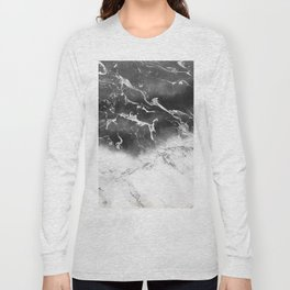 Modern black and white marble ombre watercolor color block Long Sleeve T-shirt