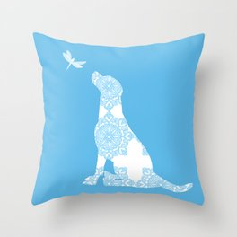 Labrador Retreiver Dog On Blue Colour Throw Pillow