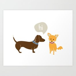 Bosco the Dachshund greets Pipsqueak the Jack Chi Mix Art Print