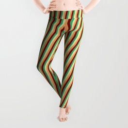 Pale Goldenrod, Brown, Maroon, and Sea Green Colored Lines/Stripes Pattern Leggings