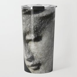Beautiful angel face grey in clay Travel Mug