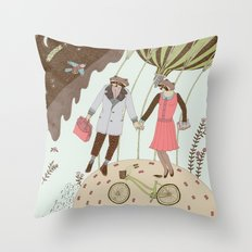 Mr and Mrs Raccoon Throw Pillow