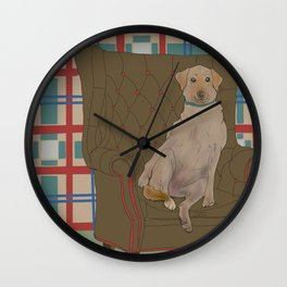Dog in a chair #5 Golden Lab Wall Clock