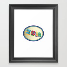 New Year 2016 Oval Low Polygon Framed Art Print