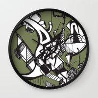 anxiety Wall Clocks featuring anxiety by Leonardo Jacoski
