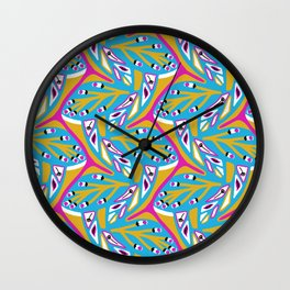 Bright Seedpods in the Wind Abstract Nature Geo Pattern in Pink , Green and Turquoise Color Palette Wall Clock