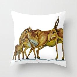 Family of Saiga Antelope (Watercolour) Throw Pillow