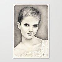 emma watson Canvas Prints featuring EMMA WATSON by Dianah B